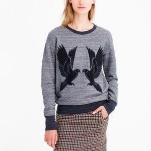 JCrew Peace dove patch jersey pullover sweatshirt.